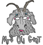 Mrs. Old Goat- the companion to Old Goat- gray wrinkled old goat,   missing her teeth  wearing her glasses,  with hot pink lipstick and rouge- completed by her bright blue eye shadow