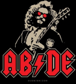 "Dudely Deeds Done Dirt Cheap! The AC/DC logo done Dude style with ""ABIDE"". We have another one with DU/DE if you dig that better."