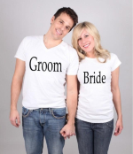 <i>t-shirts for the bride, the groom and the bridal party</i>