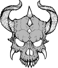 Horns and spikes adorn this diabolical skull. The holes in the skull allow the material underneath the design to shine through.
