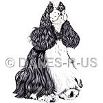 Digital dog art portrait of a beatiful Black and White Parti Colored American Cocker Spaniel named Monty.