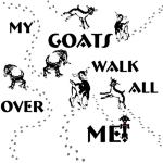 My Goats walk All Over me Goat T-shirt for the discriminating goat owner who would rather try and hide the real hoof prints within this funny goat t-shirt design. Hoof prints everywhere with little cartoon goats at the end of each trail.