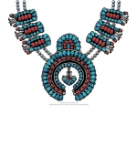 The Squash Blossom Necklace is a popular piece of Native American Jewelry in the Southwestern US. This design is created in a Navajo style, with turquoise and coral set in silver. See this unique Southwestern design on T-shirts, Sweatshirts, and more!