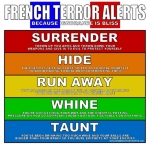 "How do the French react to terrorism?  Basically the same way the react to every threat!  Our French Terror Alerts design is sure to make the French ""Whine""!"