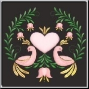 A stylish design with two pink lovebirds, hearts and a floral surround. A colorful design for lovers and loved ones - not just for Valentines´ Day.