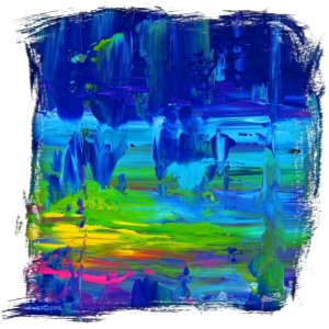 Blue Abstract with vibrant colors,crystal cave,stalagmites,stalactites,magic and pagan. Click to see this colorful abstract painting on tee shirts, mousepads, hats, bags, coasters and many other gifts.