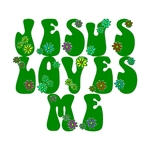 Fun Christian T-shirts in the flower power hippie style of the 60's Simple Christian message - Jesus Loves me on t-shirts Makes Spreading the word of the Lord Fun and Happy- as it should be. 'He Loves You too' on the back.