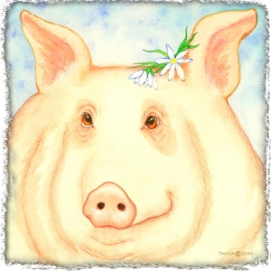 Large and pink, this piggy dreams and smiles.  Choose a whimsical piglet gift for yourself or all the pig lovers you know. Scroll down to see Pigtricia the Pig on many items, including tee shirts,mousepads,coasters,cutting boards bags and many great gifts