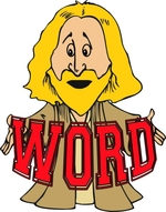 WORD and a Hip Jesus holding the Word Christian T-shirts. In the beginning was the Word, and the Word was with God, and the Word was God. Hip with Jesus Christian T-shirts for young Christians