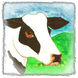 A gentle black and white beauty who likes to eat flowers.  A perfect image for kids apparel or useful kitchen items. Scroll down to see Lumilla the Cow on tee shirts,mousepads,,cutting boards, coasters, bags and many other gifts.