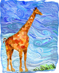 Whimsical giraffe with apologies to Van Gogh. Scroll down to see this elegant creature on tee shirts,mousepads,bags,cutting boards,coasters and many other great gifts.