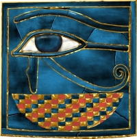 This is a panel from a bracelet found on the mummy. The Wedjat (Eye of Horus) is for protection in the afterlife.