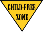 "A yellow traffic triangle informs everyone who comes near you that you are a ""Child-Free Zone."" Wear it with pride and give the child-free by choice a face others can see and respect."