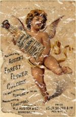 Austen's Forest Flower Cologne is a vintage fragrance advertisement from 1908. This design has a lightly distressed look as though you've had it for years.