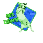 Get down! This corgi takes it to a whole new level. In Green and Blue, with a bone background.