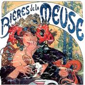 Alphonse Mucha is the best known Art Nouveau artist of his time. This beer ad is from the 1890's and has a lightly distressed look for a more aged appearance.