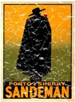 Sandeman Port and Sherry vintage advertisement from the 1920's. The design has a lightly distressed look for a more aged appearance.
