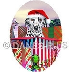 Get ready for a Holiday Surprise with this artwork featuring a Dalmatian in a Santa Hat coming out of a HUGE Christmas gift box. Candy canes, ornaments, and more gifts for a Spotty Christmas.