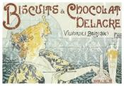 Biscuits and Chocolate Delacre is a vintage advertisement from 1892. The design has a lightly distressed appearance as though you've had it for years.