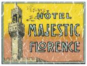Hotel Majestic, Florence, Italy is a vintage travel poster from 1903. The design has a lightly distressed look for a more aged appearance and to look like you've had it for years.