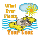 Cartoon Goat - What ever Floats your Goat- Too Funny- This silly goat hangs on to his floaty in the water- Funny goat t-shirts and goat lovers gifts. What ever Floats your Goat- Funny Goat t-shirts.