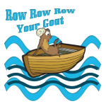 Cute cartoon Row Row Row your Goat. Funny play on words for goat lovers gifts.