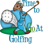 Cartoon Goat - Time to GOat Golfing- funny goat with golf club and ball behind him, Makes a great Father's Day or man's birthday gift. - Funny goat t-shirts and goat lovers gifts