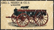 Geo. E. Nissen & Co. Wagons is a vintage advertisement poster from 1823. This design has a lightly distressed appearance as though you've had it for years.