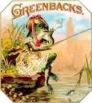 Fishing Frog Greenbacks cigar label artwork.