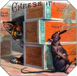Cheese It Rat cigar label artwork.