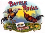 Battle Royal Roosters cigar label artwork.