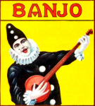 Banjo Clown cigar label artwork.