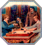 Backgammon cigar label artwork.