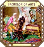 Bachelor of Arts cigar label artwork.