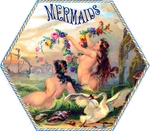 Mermaids cigar label artwork.