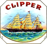 Clipper Ship cigar label artwork.