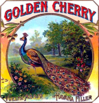 Golden Cherry Peacock cigar label artwork.