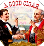 A Good Cigar cigar label artwork.