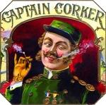 Captain Corker cigar label artwork.