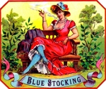Blue Stocking cigar label artwork.