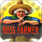 Boss Farmer cigar label artwork.