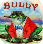 Bully Frog cigar label artwork.