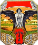 Bat Girl cigar label artwork.