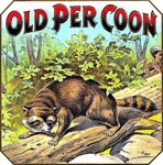Coon cigar label artwork.