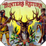 Hunters Return cigar label artwork.
