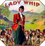 Lady Whip cigar label artwork.