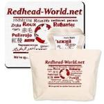 Redhead World logo mousepads, drink coasters, and canvas bags.