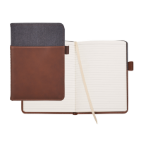 "Alternative Canvas Leather Wrap Bound Notebook (5"" x 8"")"