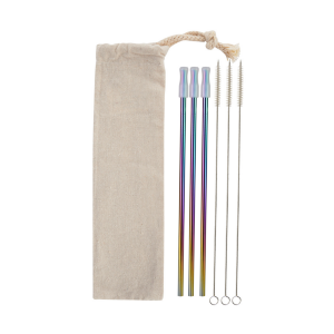 3-Pack Metallic and Rainbow Stainless Steel Straw Set
