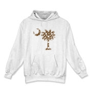 Chocolate Brown Polka Dot Palmetto Moon Hooded Sweatshirt features a chocolate brown palmetto moon with white polka dots. Buy this fun variation on the South Carolina palmetto moon flag today!